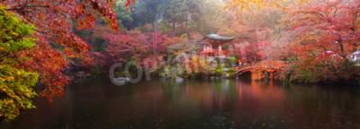 Fototapeta Panorama widoku Daigo-ji rozciągacz z kolorowych drzew klonu jesienią, Kyoto, Japonia