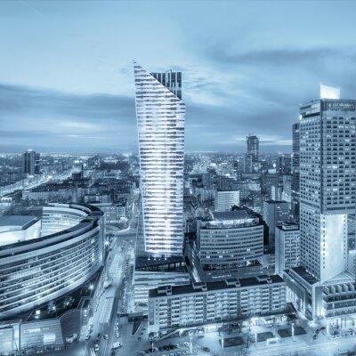 Fototapeta Panorama współczesnej Warszawie nocą