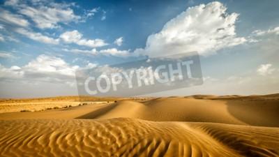 Fototapeta Panorama wydm na pustyni Thar. Wydmy Sam Sand, Radżastan, Indie