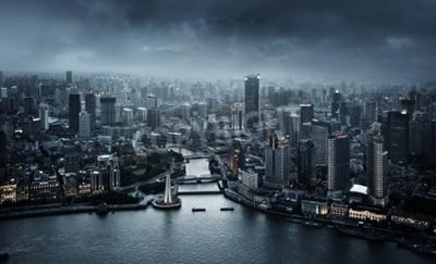 Fototapeta panoramę Szanghaju o zachodzie słońca, w Chinach