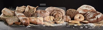 Fototapeta Panoramic banner with rustic bread