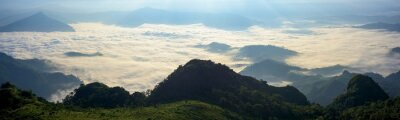 Panoramic beautiful mountains and fog at Chiang rai, Thailand.