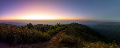 Panoramic beautiful mountains and fog in sunrise, Chiang mai, Thailand.