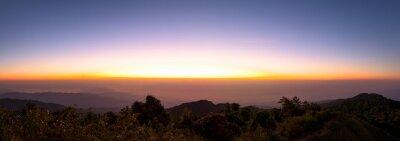 Panoramic beautiful mountains in sunrise
