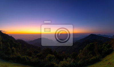 Panoramic beautiful sky in sunrise over mountains