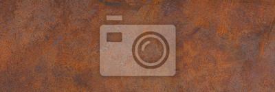 Fototapeta Panoramic grunge rusted metal texture, rust and oxidized metal background. Old metal iron panel.