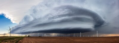 Fototapeta Panoramic view of a supercell thunderstorm