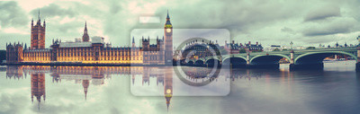 Fototapeta Panoramic view of Houses of Parliament, Big Ben and Westminster Bridge with reflection, London