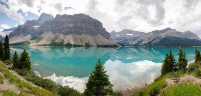 Fototapeta panoramica del lago Bow sulla Icefield Parkway w Kanadzie