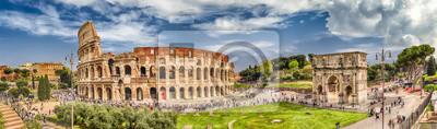 Fototapeta Panoramiczny widok Koloseum i Łuk Konstantyna w Rzymie