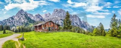 Fototapeta Panoramiczny widok na malowniczy krajobraz górski w Alpach w tradycyjnej górskiej rezydencji i świeże zielone łąki na wiosnę