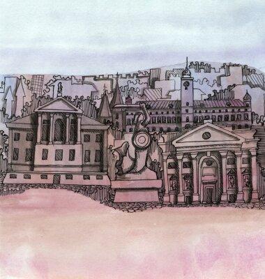 Fototapeta panoramiczny widok na miasto Warszawa ręcznie rysowane budynku konspektu samodzielnie na tle koloru tne