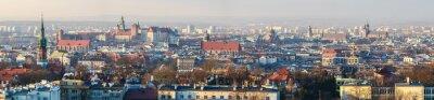 Fototapeta Panoramiczny widok na Zamek Królewski na Wawelu w Krakowie i Bazyliki Mariackiej, widok z Kopca Krakusa