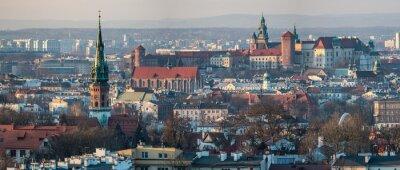 Fototapeta Panoramiczny widok na Zamek Królewski na Wawelu w Krakowie i kościoła św Józefa, widok z Kopca Krakusa