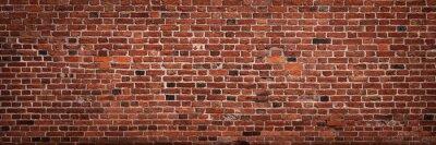 Fototapeta Panoramiczny widok pusty, stary, czerwony ściana z cegieł tło z kopii przestrzenią