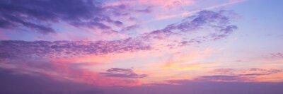Fototapeta Panoramiczny widok różowy i purpurowy niebo przy zmierzchem