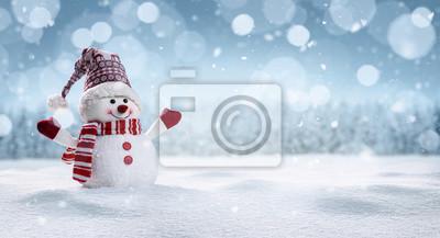 Fototapeta Panoramiczny widok szczęśliwy bałwan w zimy secenery z kopii przestrzenią