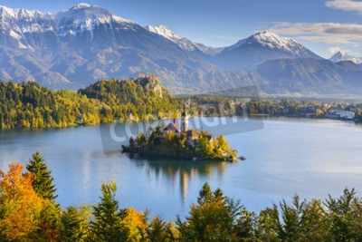 Fototapeta Panoramiczny widok z jeziora Bled, Słowenia