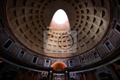 Fototapeta Panteon, Rzym, Włochy. Światło świeci przez oculus w suficie