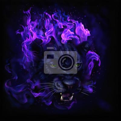 Fototapeta pantera głową w płomieniach