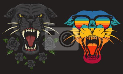 Fototapeta Panther cool Retro vector illustration