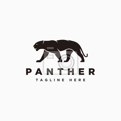 Fototapeta Panther logo vector with color black, panther icon symbol design illustrations