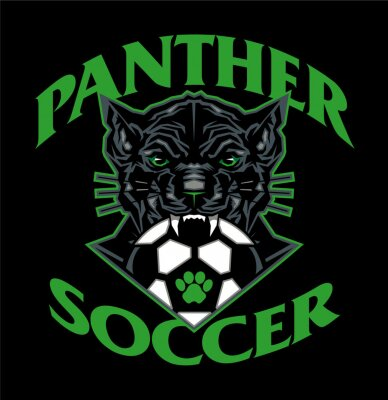 Fototapeta panther soccer team design with ball and mascot for school, college or league
