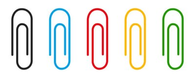 Fototapeta Paper clip icon collection. Clinch symbol. Vector isolated elements. Office clip set.