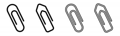 Fototapeta Paper clip icons set on white background. Paperclips in flat style. Office Paper Clip sign. Vector