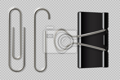 Fototapeta Paper clips. Realistic binder, paper holder isolated on white background, macro metal notebook fasteners. Vector paper clip set