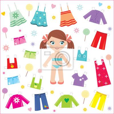 Paper Doll z ubraniami zestaw. wektor