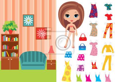 Paper Doll z zestawem ubrań i pokój