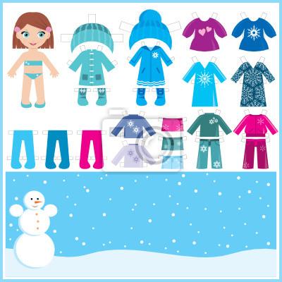 Paper Doll z zestawem ubrań zimowych. wektor