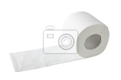 papier toaletowy samodzielnie na białym tle