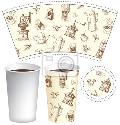 Papier wektorowy Szablon kubka na gorące napoje z rysunkami imbryków, kubków, młynków do kawy i innych doodli na temat herbaty i kawy w stylu retro