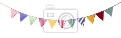 Fototapeta Papierowe przyjęcie flaga dla dekoraci i nakrycia na białym tle.