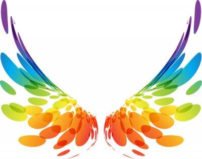 Fototapeta Para kolorowe skrzydła na białym tle