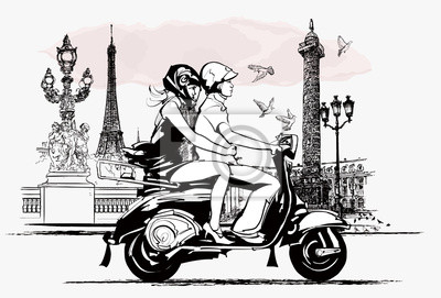 para na skuterze w Paryżu