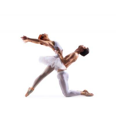 Fototapeta Para tancerzy balet wyizolowanych na białym tle