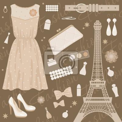 Paris fashion set. wektor, bez szoku