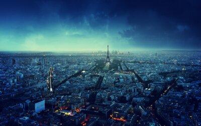 Fototapeta Paris skyline at sunset, France