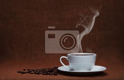parującej kawy z fasoli i przestrzeni kopię