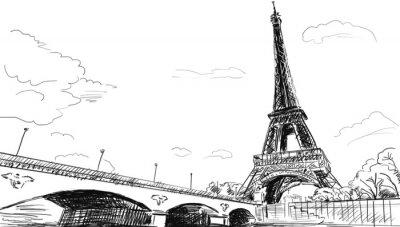 Fototapeta Paryskie ulice-Wieża Eiffla ilustracji
