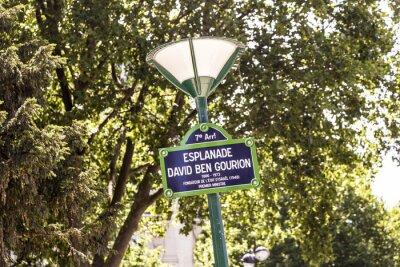 Fototapeta Paryż, Francja - Esplanade Dawid Ben Gurion stary znak ulicy