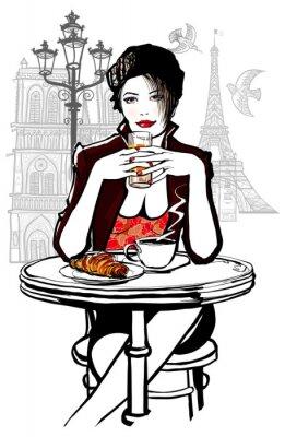 Fototapeta Paryż - kobieta o śniadanie na wakacje