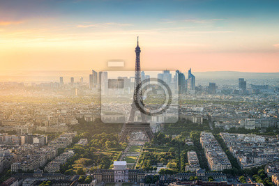 Fototapeta Paryż Skyline mit Eiffelturm und La Defense bei Sonnenuntergang