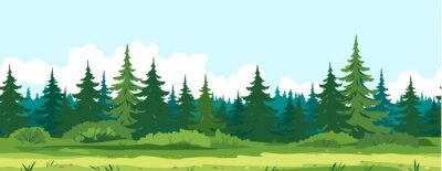 Fototapeta Path along spruce forest with big green trees game background tillable horizontally, tourist route near the dense spruce forest and bushes in summer sunny day nature illustration background