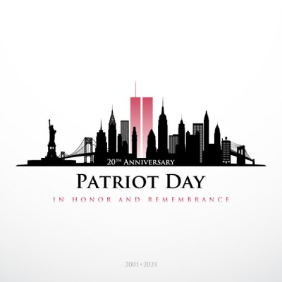 Fototapeta Patriot Day NYC skyline banner. Panorama view of New York before September 11, 2001. In honor and remembrance. 20 th Anniversary 2001-2021. Stock vector illustration.