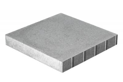 Fototapeta Paving stone made of concrete isolated on white background. Tile has a flat upper surface without chamfer and fit snugly when paving.