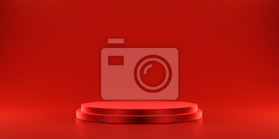 Fototapeta Pedestal of platform display with modern stand podium on red room background. Blank Exhibition stage backdrop or empty product shelf. 3D rendering.